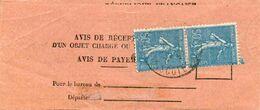 Semeuse Lignée N° 161 Sur Avis De Réception De Saint-Quay Portrieux (Côtes Du Nord) - 1939 - France