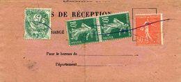 Type Blanc N°111, Semeuse Camée N°159, Semeuse Lignée N°199 Sur Avis De Réception De Saint-Quay Portrieux (22) 1927 - France
