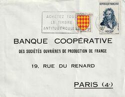 De Tours Indre Et Loir Pour Paris Yvert. 1136 I.Newton Et  1003 Angoumois Flamme Timbre Anti Tuberculeux - Marcofilie (Brieven)