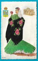Carte Brodée Fantaisie Folklore MADRID Illustrateur - Borduurwerk