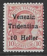 Austria, Italian Occupation Trentino, Scott # N62 Mint Hinged Italy Stamps Surcharged, 1918 - Unused Stamps