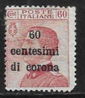 Austria, Italian Occupation Trieste, Scott # N73 Mint Hinged Italy Stamp Surcharged,1919, Round Corner - Unused Stamps
