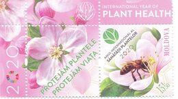 2020. Moldova, UNO, 2020 - International Year Of Plant Health, Bee, Flower, Stamp With Label, Mint/** - Moldavia