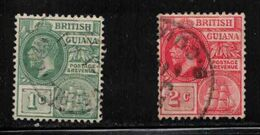 BRITISH GUIANA Scott # 178-9 Used - KGV & Sailing Ship - Guyana Britannica (...-1966)