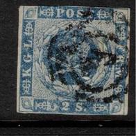 DENMARK 1854 2 Sk Blue SG 8 U #BMJ02 - Oblitérés