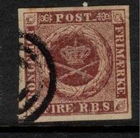 DENMARK 1851 4 R.b.s. Brown SG 4 U #BMJ01 - 1851-63 (Frederik VII)