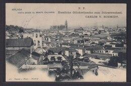 Ansichtskarte Malaga Spanien Ortsansicht  Neujahrsgruß Nach Neumühlen Schleswig - Ansichtskarten