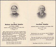 Vieux Papiers  GENEALOGIE Jean René Kerrien & Perrine Kerrien Née Laviec Landivisiau 1921/1948 Ref 1224 - Todesanzeige