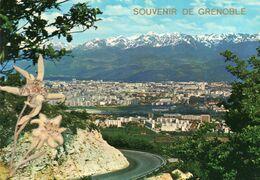 CPM - M - ISERE - SOUVENIR DE GRENOBLE - VUE GENERALE ET LA CHAINE DE BELLEDONNE - EDELWEISS - Grenoble