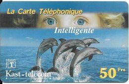 CARTE-PREPAYEE-KAST-TELECOM-50F-DAUPHINS-07/2000--R°V° Glacé-TBE    - - Dolphins