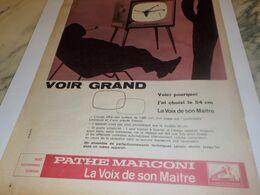 ANCIENNE   PUBLICITE VOIR GRAND TV PATHE MARCONI 1959 - Televisione