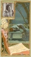CHROMO LEFEVRE UTILE LU  CELEBRITES JEANNE GRANIER   ART NOUVEAU 17 X 9 CM GAUFREE RELIEF - Lu