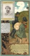 CHROMO LEFEVRE UTILE LU  CELEBRITES JEAN RICHEPIN   ART NOUVEAU 17 X 9 CM GAUFREE RELIEF - Lu