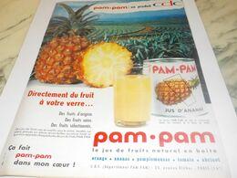 ANCIENNE PUBLICITE ANANAS JUS DE FRUIT EN BOITE PAM PAM 1959 - Afiches