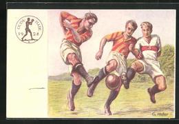 Künstler-AK Olympia-Postkarte Des Deutschen Reichsausschusses Für Leibesübungen 1928, Fussballspieler - Unclassified