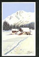Künstler-AK Carlo Pellegrini: Haus In Winterlicher Landschaft - Otros Ilustradores