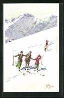 Künstler-AK Carlo Pellegrini: Skifahrer In Den Bergen - Otros Ilustradores