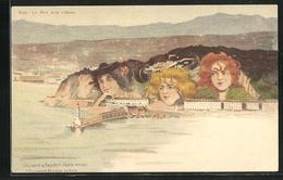 CPA Illustrateur Killinger Nr. 133: Nice / Nizza, Le Port Et Le Chateau, Berg Avec Gesicht / Berggesichter - Maritiem Transport - Haven