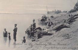 Burma, Bathers In Irrawaddy River, Boats C1900s/10s Vintage Postcard - Myanmar (Burma)