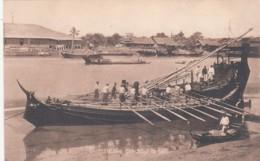 Burma, Paddy Boat, Big River Boat With Many Oars C1910s Vintage Postcard - Myanmar (Burma)