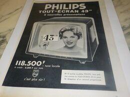 ANCIENNE PUBLICITE TELEVISEUR 43 CM PHILIPS 1959 - Televisione