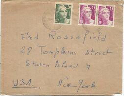 GANDON 15FR GRAVE PAIRE +20FR LETTRE AVION ?? 194? POUR USA - 1945-54 Marianna Di Gandon