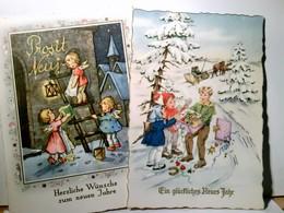 Prosit Neujahr ! Set 2 X Sehr Schöne Nostalgische Glückwunschkarten Mit Goldprägung, Ungel., Engelchen, Kinder - Ohne Zuordnung