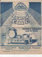 Toulouse (31 Haute Garonne)  Prospectus RECHAUD EME  (quincaillerie HABIAGUE) 1929 (PPP23737) - Werbung