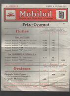 Prix Courant MOBILOIL 1923  (PPP23738) - Advertising