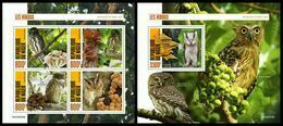 NIGER 2020 - Owls & Mushrooms, M/S + S/S. Official Issue [NIG200209] - Hongos