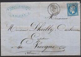 Lettre  Du 14/09/1867 D'Amiens (76)  GC 85 Indice 1 Sur N° 22 - Postmark Collection (Covers)