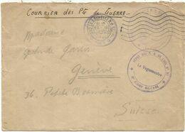 LETTRE FM COURRIER DE PG DE GUERRE LA ROCHELLE 1946 CHARENT MARITIME + CACHET VIOLET DEPOT DES PG DE L'AXE N°97 - Storia Postale