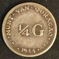CURACAO - ANTILLES NEERLANDAISES - 1/4 - ¼ - GULDEN 1944 - Wilhelmina - KM 44 - NEDERLANDSE ANTILLEN - Argent - Silver - Curaçao