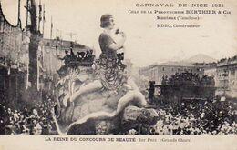 S35-001 Carnaval De Nice 1921 - Char De La Pyrotechnie BERTHIER & CIE - La Reine Du Concours De Beauté - Carnival