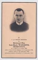 REVEREND PERE JEAN WAELKENS - TIELT 1904 - BRUXELLES 1951   2 SCANS - Engagement