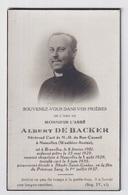 PASTOOR  NOUCELLES WAUTHIER BRAINE - ALBERT DE BACKER  BRUXELLES 1901 - RHODE SAINT GENESE 1937   2 SCANS - Engagement
