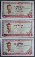 3 BILLETS  BANQUE CENTRALE DE LA REPUBLIQUE DE GUINÉE - CINQUANTE SYLIS  1960  (NEUF) - Guinea