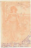 ART NOUVEAU - Femme, Paysage , Rose Pâle - Illustrateur à Identifier - Before 1900