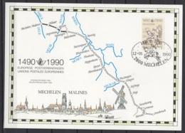 """Carte Souvenir """"Liaisons Postales Européennes"""". 1490-1990. COB N° 2350 HK (Belgique) - Cartoline Commemorative"""