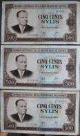 3 BILLETS  BANQUE CENTRALE DE LA REPUBLIQUE DE GUINÉE - CINQ CENTS SYLIS  1960 - Guinea