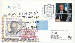 "ISRAEL - In Mémoriam ""YITZHAK RABIN"" - FDC Tel Aviv + Vignette Privée / Liaison Postale Jerusalem Strasbourg 5/12/95 - Briefe U. Dokumente"