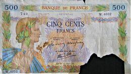 FRAGMENT BILLET DE 500 FRANCS 1940 - W 4032 740 - 500 F 1940-1944 ''La Paix''