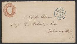 HANOVRE Enveloppe Entier George V 3 Gr Brun Jaune Oblt + CàD Double Cercle LEER >  MULHEIM S La RUHR - Hannover