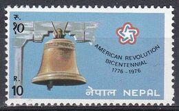 Nepal 1976 Geschichte History Amerika America Unabhängigkeit Independence USA Glocke Bells Freiheit Freedom, Mi. 342 ** - Nepal