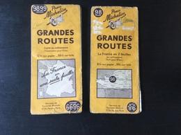 2 Cartes Michelin : Gdes Routes 98 Et 9899 (cartes Revisitees En 1939) - Roadmaps