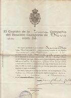 1901 Espagne Spain Document Militaire Compania Del Batallon Cazadores De Merida - Documenten