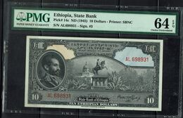 ETHIOPIA 1945 BANKNOTES 10$ PMG 64 UNC !! - Ethiopië