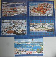 Denmark, Local Christmas Seals Kalundborg 1986 - 1990, 5 Full Sheets, MNH (**) - Fogli Completi