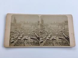 1890 1910 Carte Stéréoscopique NUREMBERG Le Marché Nürnberg Markt Stéréotypes - Nürnberg