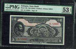 ETHIOPIA 1945 BANKNOTES 5$ PMG 53 UNC !! - Ethiopië